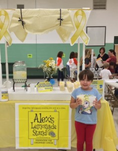 Olivia sells lemonade at McNinch Primary for Childhood Cancer Awareness Month