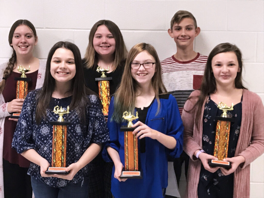 Pictured are first place winners from Moundsville Middle School and Sherrard Middle School. Front row from left: Gianna Romano (MMS), Lydiah Beckett-Henry (SMS) and Maddie Galloway (SMS). Back row from left: Grace Gatts (SMS), Sydney Barnhart (SMS) and Jude Thomas (MMS).