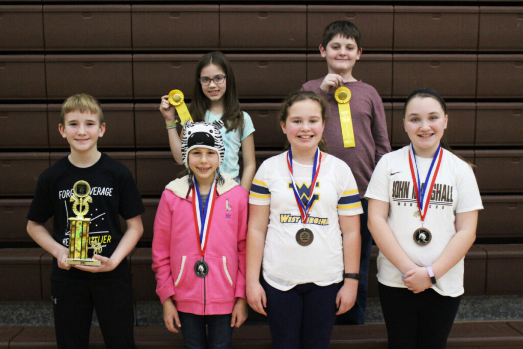 5th grade Winners (L to R) Back Row: Emma Coffield (alternate), Landon Hicks (alternate) Front Row: Nolan Smith (1st), Zoe Zervos (2nd), Cheyenne Harvey (3rd), Sophie Cunningham (4th)