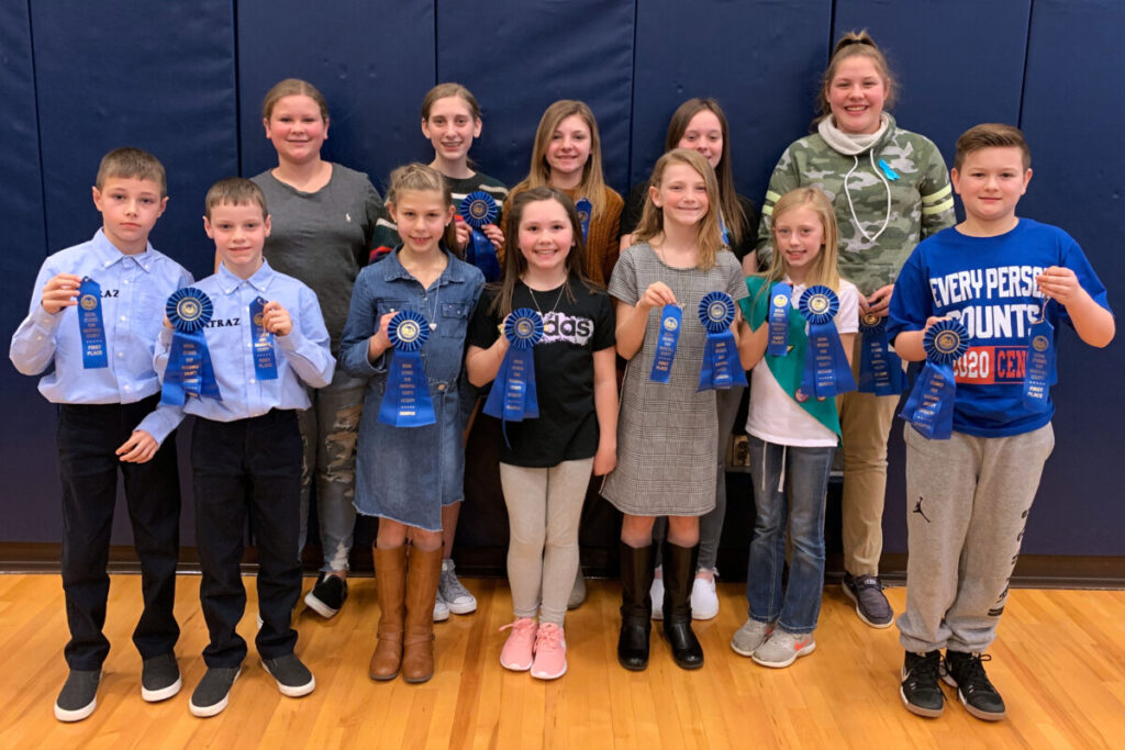 Pictured are the students who scored a 100% on their Social Studies project. Front row from left: Connor Fromhart, Chase Fromhart, Zoe Zervos, Allison McGraw, Emma King, Lillian Williams and Jackson Bonar. Back row from left: Alaina Lucey, Emily Butler, Devan Schrack, Madison Bowman and Ashlynn Vantassell.