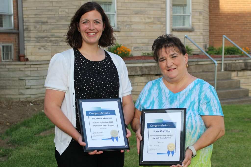 From left: Heather Haught (Teacher of the Year) and Julia Clayton (Service Personnel Member of the Year).