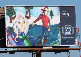 Bailey Sebroski's billboard drawing that features a man and a woman ice skating.