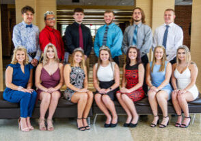 The 2019 JM Homecoming Candidates include: Sitting from left: Madison Dobkin, Morgan Brisco, Abigal Martin, Whitney Coffield, Rebecca LeMaster, Anna Blake and Autumn Bonaventura. Standing from left: Creed Kidney, Ismeal Calzada, Malicky Schrumpf, Jace Boggs, Zachary Birkett and Justin Frohnapfel.