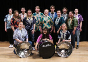 Pictured are members of the JM Steel Drum Band. Front row from left: Olivia Miller, Hannah Lynch and Paige Wallace. Middle row from left: Lakyn Phillips, Tessa Wise, Dakota Wyatt, Cloey Broski and Sarah Fitzpatrick. Back row from left: Leah Reuschel, Cameron Anderson, Brayden Snider, Creed Kidney Rebekah Clark and Pearl Chambers. Not pictured - Madi Blake and Cameron McClure.