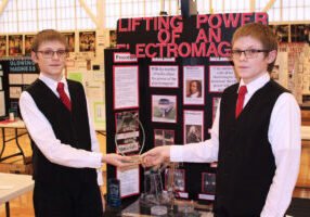 Pictured from left are the Marshall County Science Fair overall winners Jacob and Joshua Meneely, 8th graders at Cameron High School.