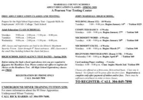 ABE-Adult Ed Schedule Spring 2020 Pic