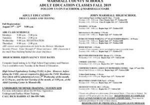 List of 2019 Adult Education Classes. Call to 304-845-7890 to register or get more information about the classes offered. Call 304-845-7890 for details.