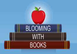 "Pile of cartoon books with an apple on top. Each bind of the books has ""blooming with Books"" written in white."