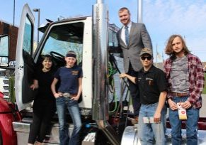 Local truck dealership Hill International Trucks sponsored a career exploration day at John Marshall High School on Thursday.