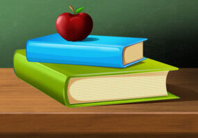 Two books stacked on top of each other, topped with a red apple. The bottom book is green and the top book is blue.