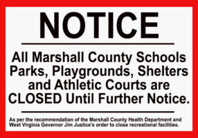 As per recommendation of the Marshall County Health Department and West Virginia Governor Jim Justice's order to close recreational facilities, all Marshall County Schools parks, playgrounds, shelters and athletic courts are closed until further notice.