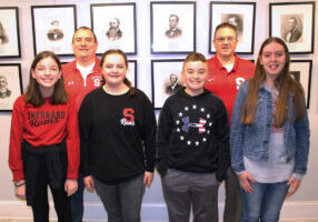 Pictured is SMS Team 1. From left front row: Avery Kaniecki, Lilley Roman, Connor Dorsey and Grace Gatts. From left back row: Coach Dan Gatts and Coach Jeff Stephens.