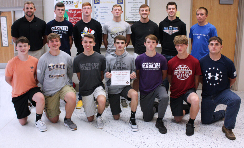 The Cameron High School Baseball team pose for a picture in honor of winning the American Baseball Coaches Association (ABCA) Team Academic Excellence Award.