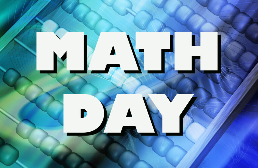 blue calculator with Math Day written in white on top