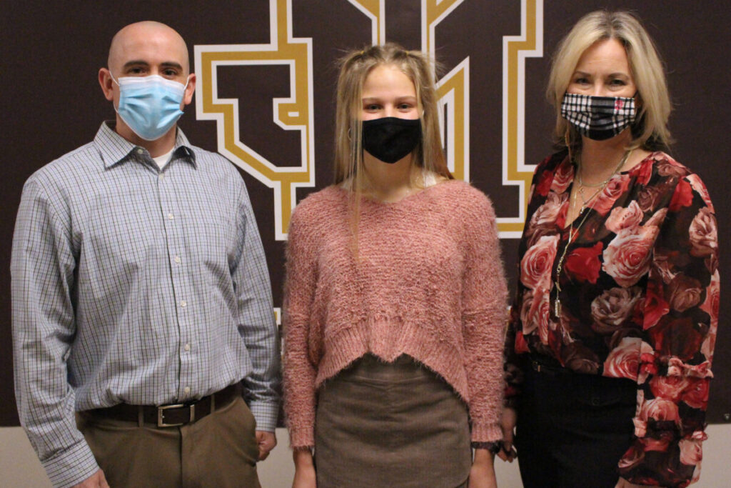 Pictured from left: JM PLTW teacher Gavin Hartle, Zara Zervos and JM head Principal Cassie Porter.
