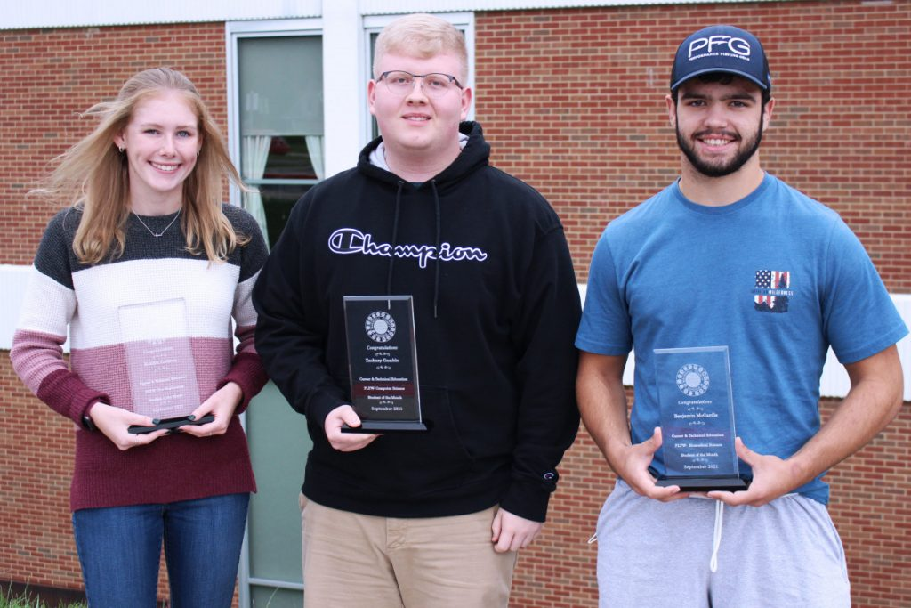 Pictured from left are the JMHS CTE Students of the Month: Kaitlyn Cochran, Zachary Gamble and Benjamin McCardle.