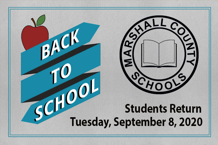 Back to school written in white over blue ribbons. A black Marshall County Schools logo with Students return Tuesday, September 8, 2020 written below the logo in black.
