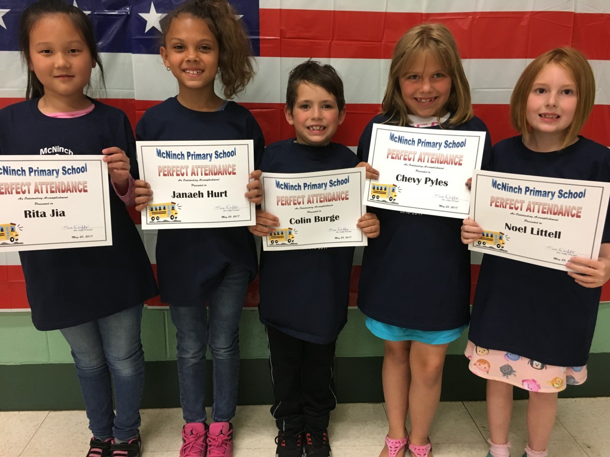 Perfect Attendance Announced at McNinch Primary