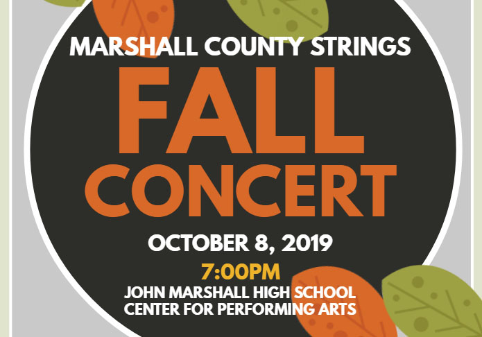 Concert flyer: Colored leaves (red and orange) on branches with Fall Concert, October 8, 2019, 7:00 pm, John Marshall Center for Performing Arts written in white.