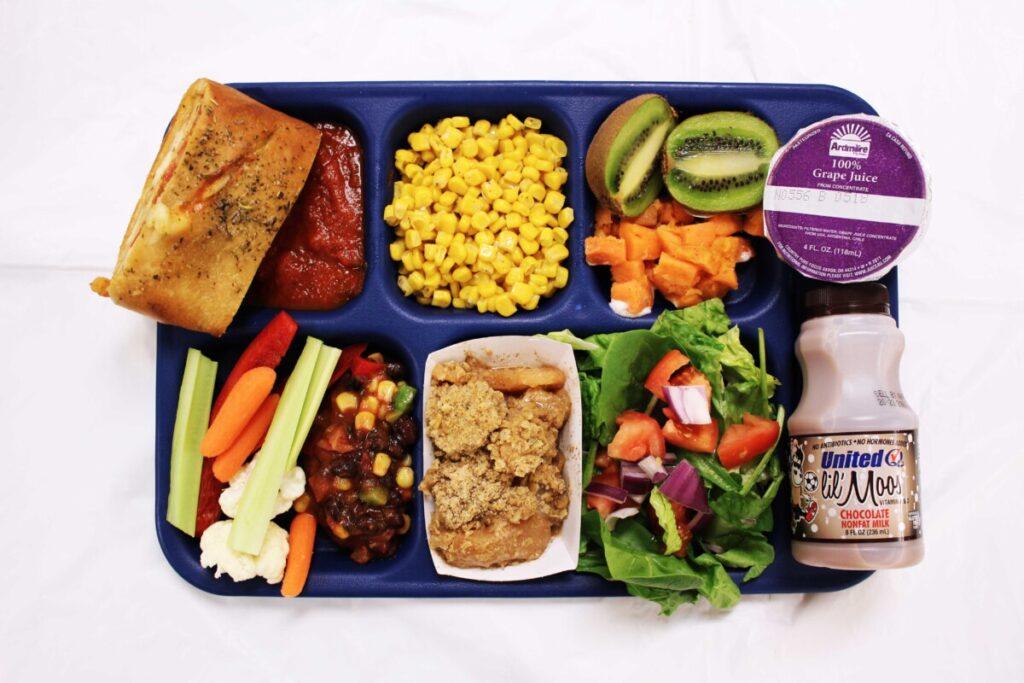 Tray of school food