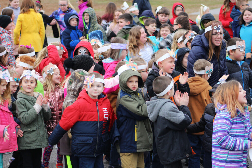 group of Washington Lands Elementary students with groundhog crown on during the school's first-ever Groundhog Day celebration